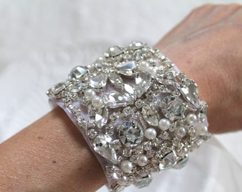 Bridal Crystal Bracelet. Rhinestone Pearl Luxury Wedding Cuff. MAGNIFICAT