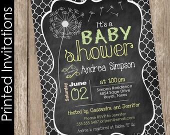 Printed Dandelion Chalkboard Baby Shower Invitation, dandelion baby shower invitation, chalkboard, typography (FREE ENVELOPES)