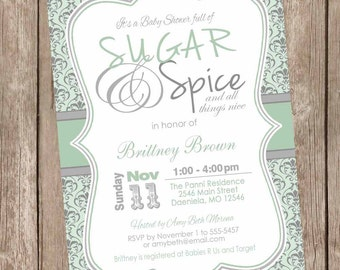 Damask Sugar and spice girl baby shower invitation, mint, gray, gray, damask baby shower, damask invitation, printable invitation
