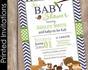 Printed Woodland Forest Baby Shower Invitation, forest and friends, lime, navy, chevron, typography (FREE ENVELOPES)