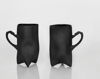 Black Porcelain cups set of two , ceramic cups handbuilt coffee cups or tea cups by Endesign