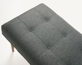 Modern upholstered bench in Divina Melange #170 (dark grey)