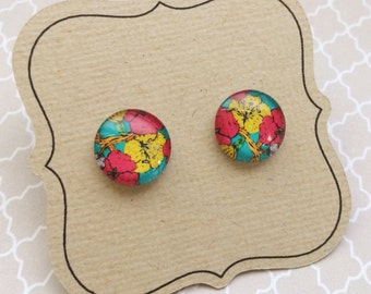 Titanium Earrings, Pink and Yellow flowers on Turquoise background, LAST PAIR