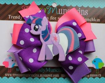 My Little Pony Twightlight Sparkle Pinwheel Hair Bow  - Purple and Pink Layered Pinwheel Hair Bow