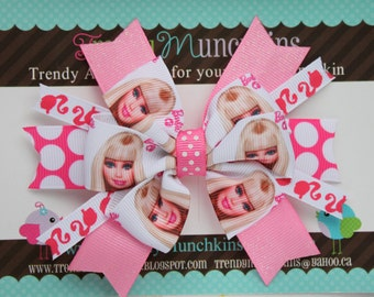 Barbie Pinwheel Hair Bow - Hot Pink and White Polka Dot Spiked Bow