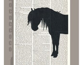 The Black Horse -ORIGINAL ARTWORK  printed on Repurposed Vintage Dictionary page -Upcycled Book Print