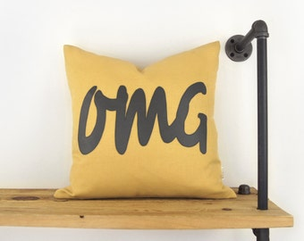 18x18 Outdoor Pillow Case in Mustard Yellow & Charcoal Grey - Summer Patio Decor - OMG Typography - Humor Word Cushion Cover - SMS Language