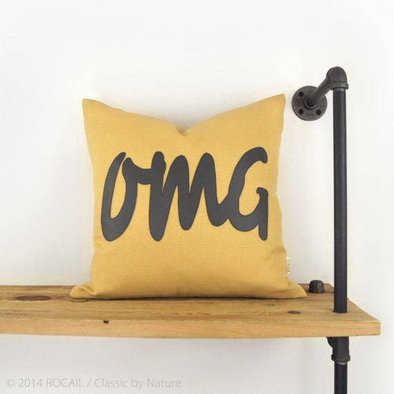 18x18 Outdoor Pillow Case in Mustard Yellow & Charcoal Grey - Patio Decor - OMG Typography - Humor Word Cushion Cover - SMS Language || SALE
