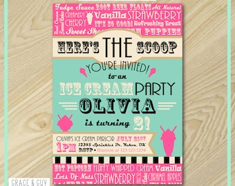 Ice Cream Party - Printable Birthday Invitation - Ice Cream Birthday Party Printables