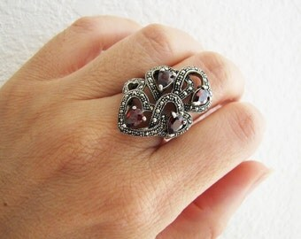 Garnet Marcasite Sterling silver Ring, size 6, Statement ring