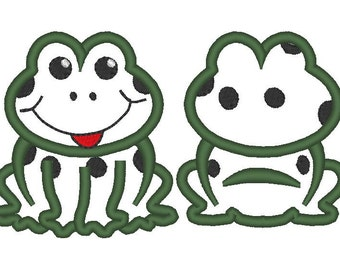Frog front and back, rear view - machine embroidery applique and fill stitch designs, many sizes INSTANT DOWNLOAD