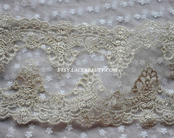 2.5 Yards Light Gold Lace Trim Retro Embroidered Tulle Lace Double Edges 5.5 Inches Wide