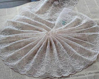 2 Yards Embroidered Lace Trim Light Beige Tulle Lace Trim Floral Embroidered Lace 8.26 Inches Wide