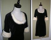 SALE 60s Black Velvet Mink FUR Dress Vintage LBD Cocktail Fur Neckline and Cuffs M