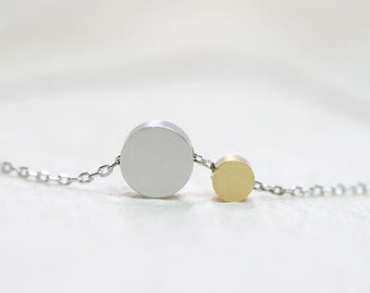 Cute Two Round Circle Necklace - S2339-1