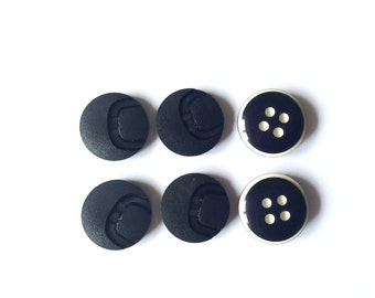 Navy Buttons, 6 Vintage Buttons, Mix Set
