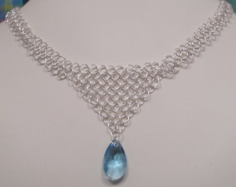 Chainmaille V Necklace with Aquamarine Teardrop Crystal