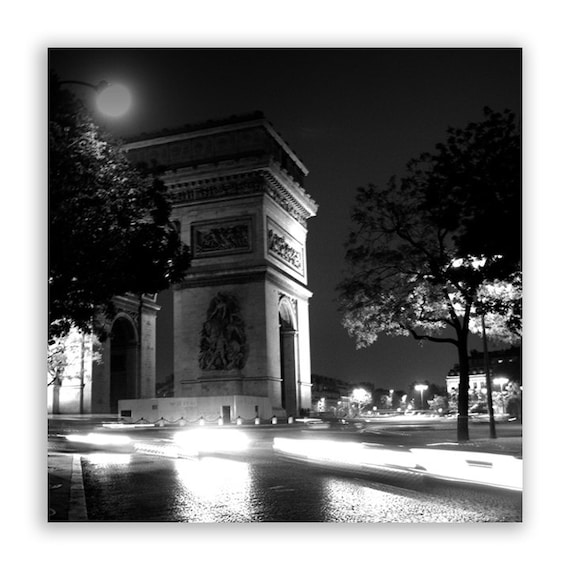 "Paris Prints, Paris photography, Paris decor, Paris landmarks, Paris photos, night - ""Triumph"" - Fine Art Photograph B&W or Sepia"