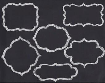 Digital chalk frames, hand drawn chalk frames scrapbook clip art, royalty-free- Instant Download