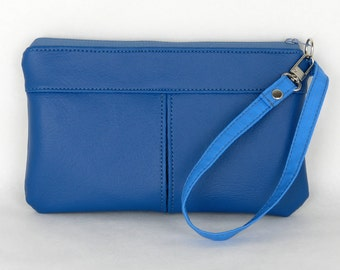 Fiore Vinyl Wristlet Purse Royal Blue, Faux Leather Wristlet
