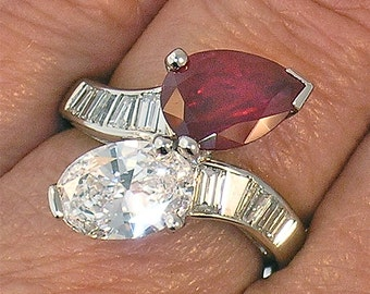 Platinum 1.19ct Oval D SI1 Diamond & Pear Shaped 2.14ct Ruby Crossover Ring
