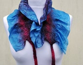 Felted scarf, silk, wool, nuno, felted, gift, fibre art, turquoise, burgundy, brown