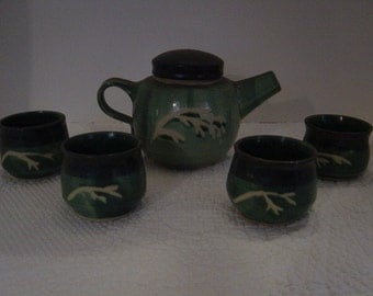 Teapot and Tea Cups, Handmade, Fired Pottery, Vintage