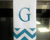 Monogrammed Kitchen Towel or Hand Towel - Turquoise and White