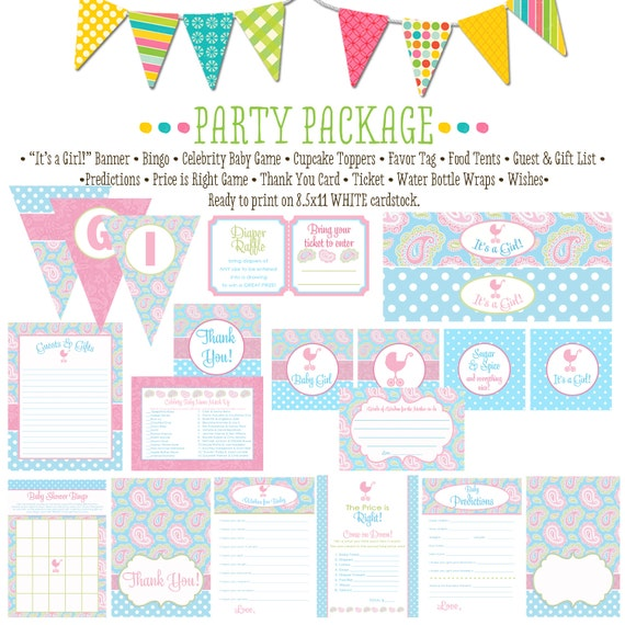 Paisley pink and blue item 1302 package AS IS Matching games, ticket, banner, bingo, thank you card, water bottle wraps, cupcake toppers
