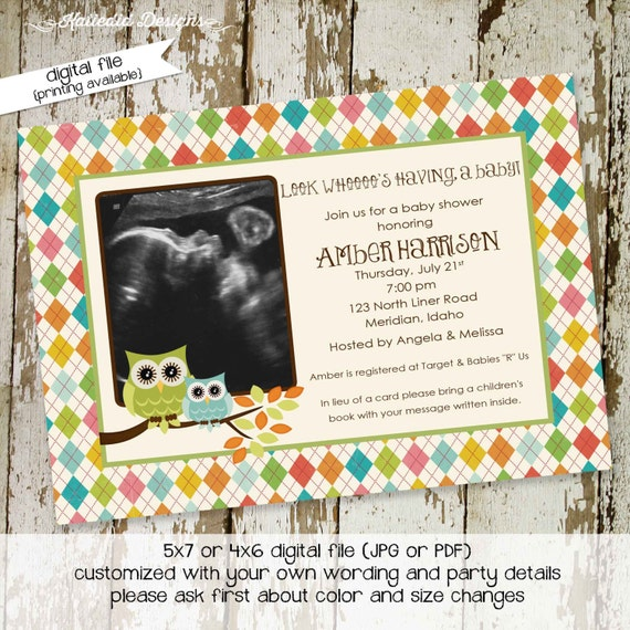 owl baby shower invitation owl first birthday birth announcement photo sip and see sprinkle ultrasound (item 144) shabby chic invitations
