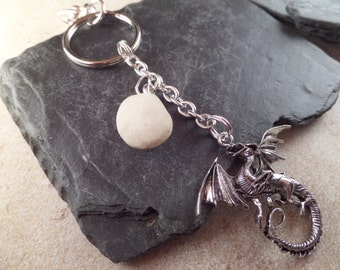 Scottish Sea Pebble Keychain with Dragon Charm in White and Silver, Gift for Man