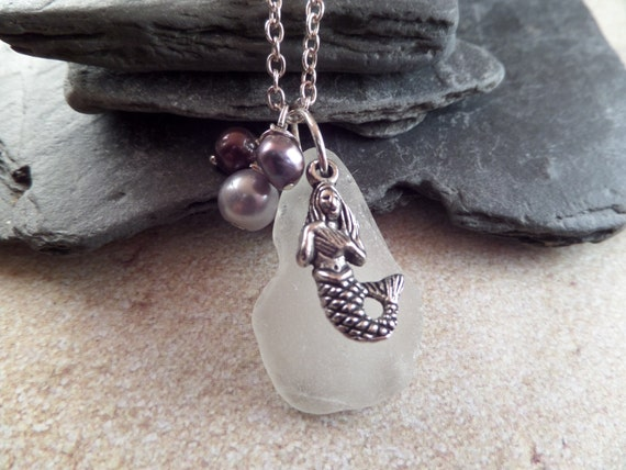 Mermaid Charm Necklace with White Scottish Sea Glass and Purple Pearls