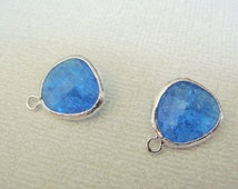 Jewelry Supplies, Silver Capri Blue Cracked Glass Pendant, Light Blue Framed Gemstone Bead, Blue Framed Stone Charm,12.5 mm, 2 pc