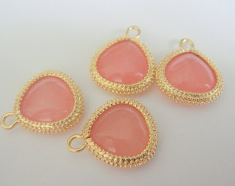 Jewelry Supplies Matte Gold Plated Pink Gemstone  Pendant, 15 mm, 2 pc, MB21035