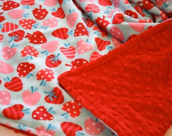 Strawberry and Red Dot Baby Girl Minky Blanket