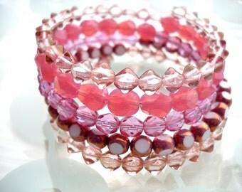 Pink memory wire layered bracelet: Never Grow Up - pink wrap bracelet, girly bracelet, stacked bracelet, pink jewelry, pink bracelet