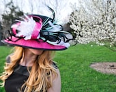 Womens Lamp Shade Black, teal and pink, Sinamay Spring Fashion, Kentucky Derby Dress Hat