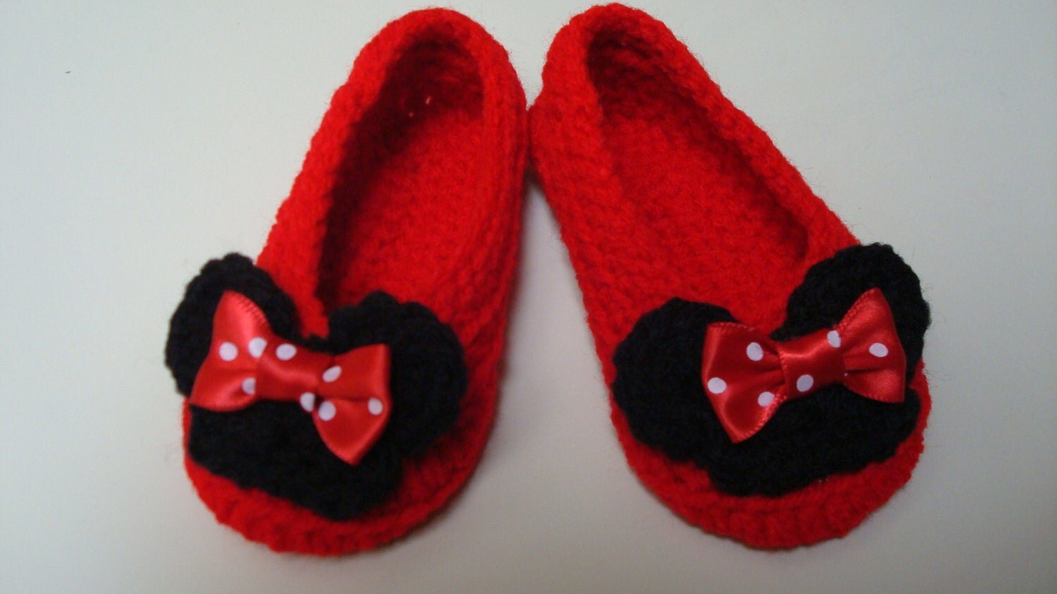 Minnie Mouse Inspired Crochet Slippers Infant to Adult Size 12