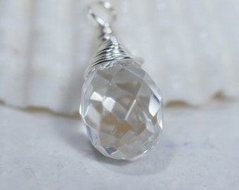 Crystal Clear Teardrop Wire Wrapped on Silver Add Dangle Wire Wrapped Beads
