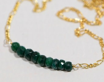 Birthstone Necklace Natural Emerald Necklace On 14K Gold filled Figaro Chain  Mothers Day Gift
