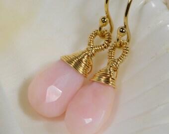 Peruvian Pink Opal Earrings Drop Earrings Beaded Earrings Wire Wrapped 14K Gold Filled Earrings