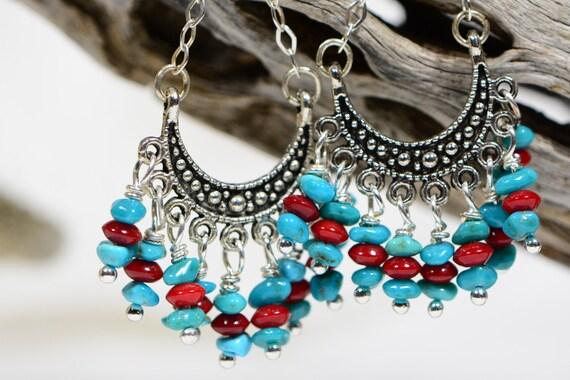Turquoise And Coral Earrings Silver Chandelier Earrings Boho Chic Earrings
