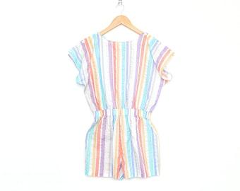 Vintage Pastel Stripe 50 / 50 Short Sleeve Jumper by Plumo, Made in USA