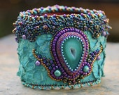 RESERVED LISTING - Turquoise Fish Leather Bead Embroidery Druzy Cuff