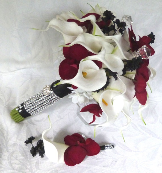 Red Orchid White Calla Lily Black Accents Wedding Bouquet Set