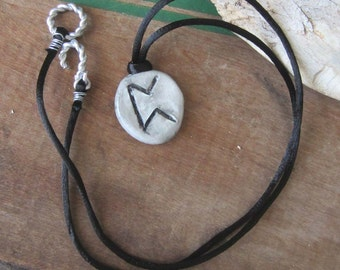 rune necklace PERTHRO runes pendant unisex wicca wiccan jewelry pagan magic amulet viking larp