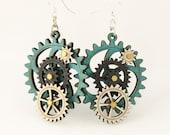 Kinetic Gear Earrings - Aqua color style