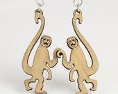 Monkeys hanging on your Ear - laser Cut Wood Earrings