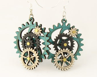 Kinetic Gear Earrings - Aqua color style - 5003E