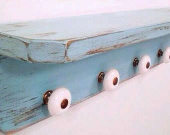 Shabby Primitive Wood Shelf with Antique Ceramic Knobs, Shabby Chic, French Country Cottage, Turquoise Blue